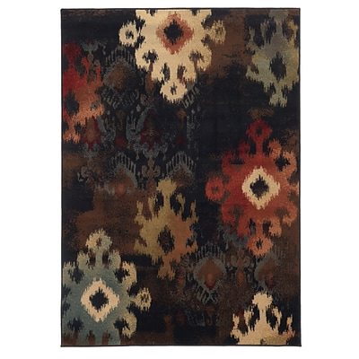 Abstract Ikat Black/ Brown Indoor Machine-made Polypropylene Area Rug (53 X 76)