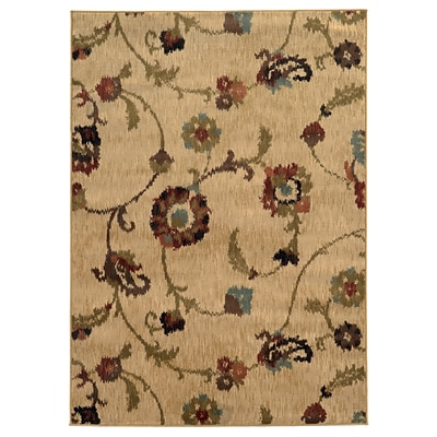 Floral Tan/ Multi Indoor Machine-made Polypropylene Area Rug (67 X 96)