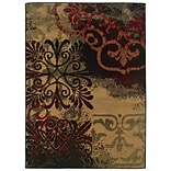 Abstract Beige/ Black Indoor Machine-made Polypropylene Area Rug (33 X 55)