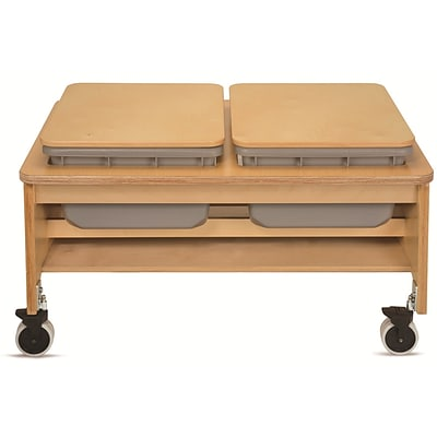 Whitney Plus 23 1/2 x 43 1/2 x 31 Laminate 2 Tub Sand and Water Table, Maple