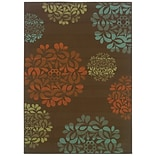 Floral Brown/ Blue Indoor/Outdoor Machine-made Polypropylene Area Rug (37 X 56)