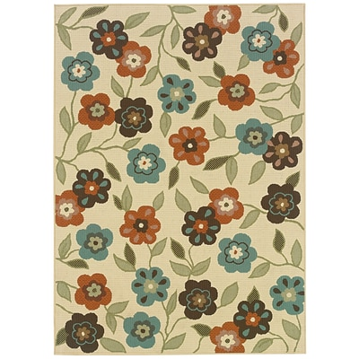 Floral Ivory/ Brown Indoor/Outdoor Machine-made Polypropylene Area Rug (53 X 76)