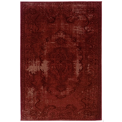 Overdyed Oriental Red/ Black Indoor Machine-made Polypropylene Area Rug (53 X 76)