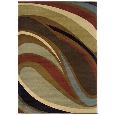 Abstract Brown/ Brown Indoor Machine-made Polypropylene Area Rug (67 X 96)