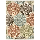 Floral Beige/ Blue Indoor/Outdoor Machine-made Polypropylene Area Rug (53 X 76)
