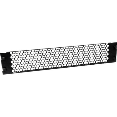 Startech RKPNLTL2UV 2U Tool-Less Vented Blank Rack Panel; Black