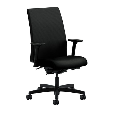 HON® Ignition® Mid-Back Office/Computer Chair, Adjustable Arms, Classic Iron Fabric
