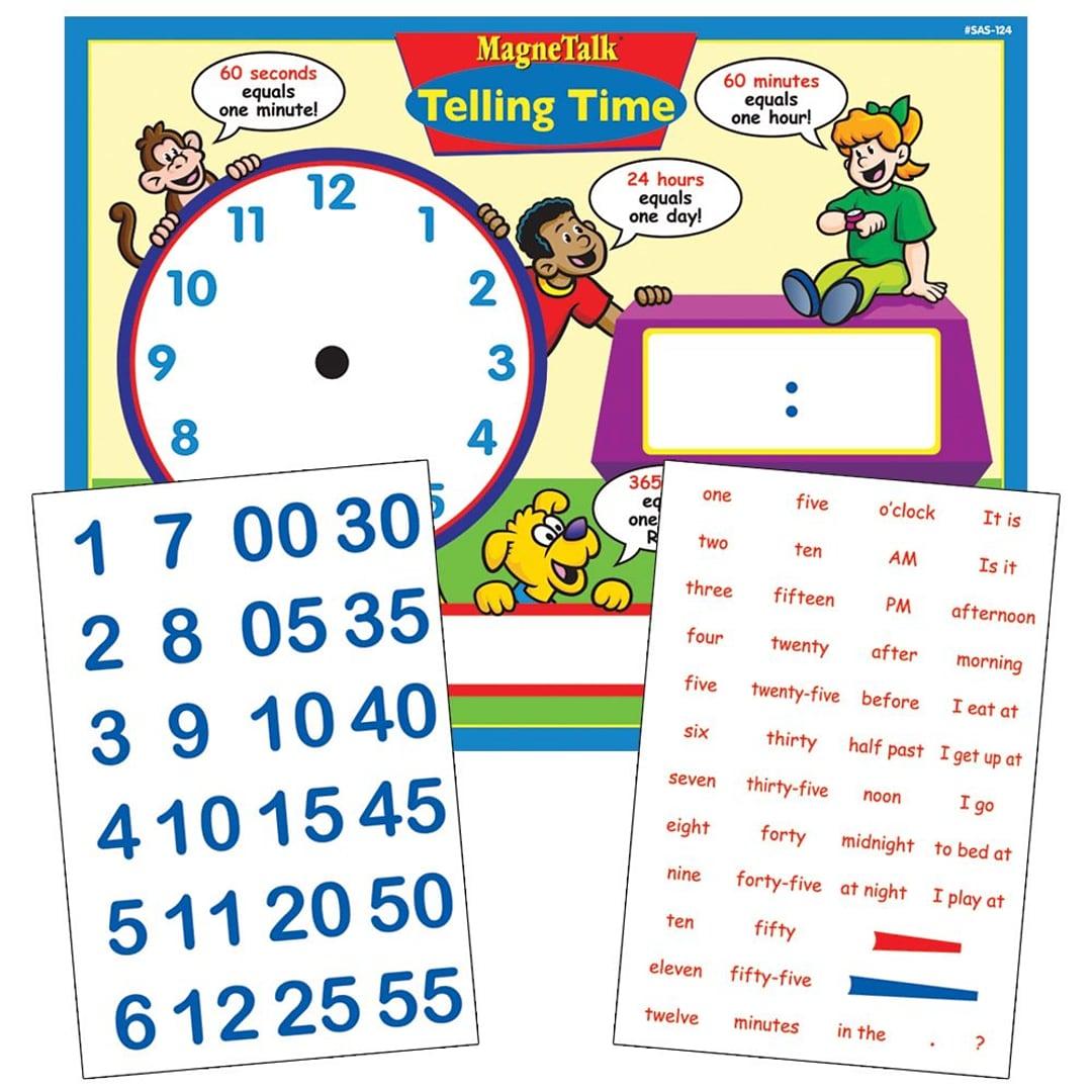 Super Duper Publications SAS124 MagneTalk Telling Time Board Game