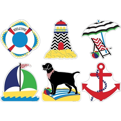 Barker Creek Double-Sided Accents, Nautical Chevron, 36/Pack