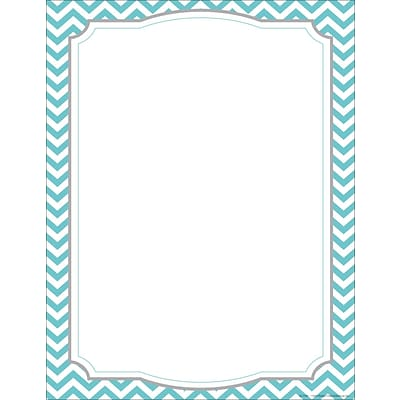 Barker Creek 8 1/2 x 11 Decorative Computer Paper, Turquoise Chevron, 50/Pack (LL740)