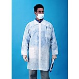 Keystone LC3-WO-NW-MD Single Collar White Disposable Lab Coat, Medium, 30/Box