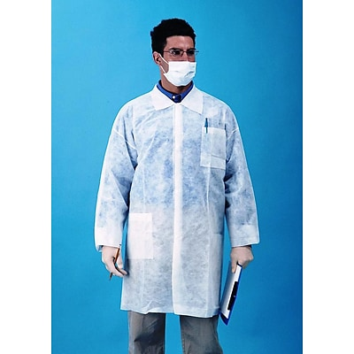 Keystone LC3-WO-NW-LG Single Collar White Disposable Lab Coat, Large, 30/Box