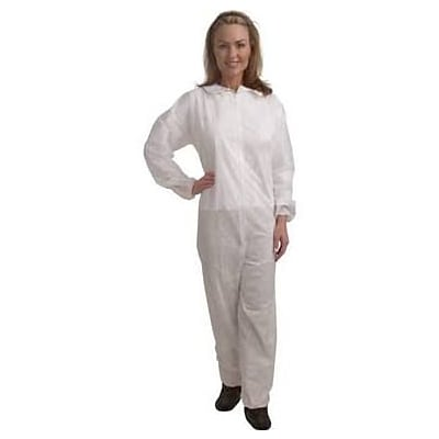 Keystone CVL-NW-E-LG White Polypropylene Disposable Coverall, Large, 25/Box