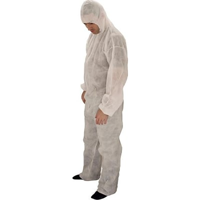 Keystone CVL-NW-HE-LG White Polypropylene Disposable Coverall, Large, 25/Box