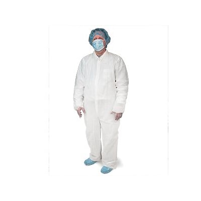 Keystone CVL-NW-HD-XL White Heavyweight Polypropylene Disposable Coverall, XL, 25/Box