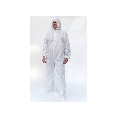 Keystone CVL-NW-HD-B-XL White Heavyweight Polypropylene Disposable Coverall, XL, 25/Box