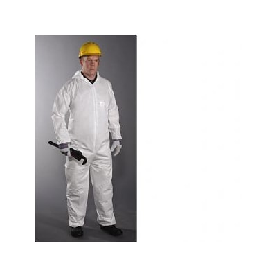 Keystone CVL-NWP-E-3XL White Laminated Polypropylene Disposable Coverall, 3XL, 25/Box