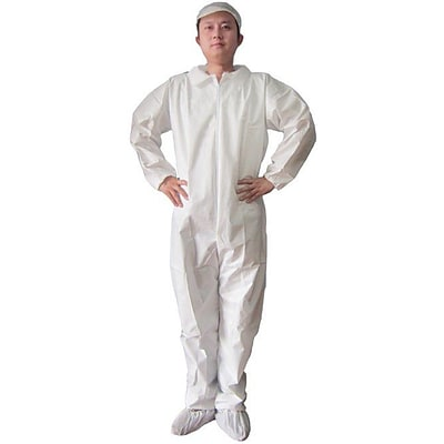 Keystone CVLSMSREG-E-XL White SMS Barrier Fabric Disposable Coverall, XL, 25/Box