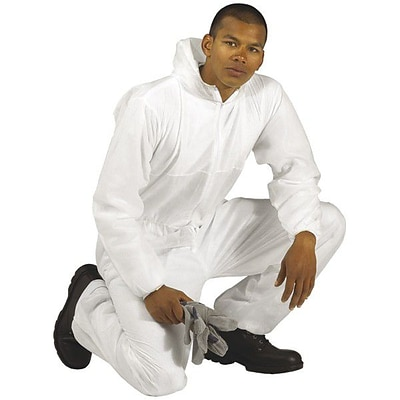 Keystone CVLSMSREG-HE-3XL White SMS Barrier Fabric Disposable Coverall, 3XL, 25/Box