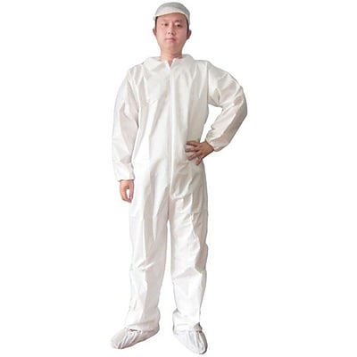 Keystone CVLS-E White Heavyweight SMS Disposable Coverall/Bunny Suit, Large, 25/Box