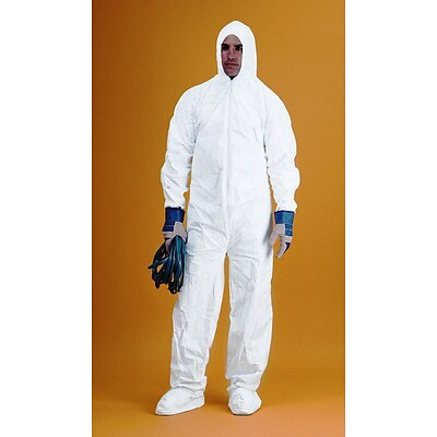 Keystone CVL-KG-B-XL White Keyguard Disposable Coverall/Bunny Suit, XL, 25/Box