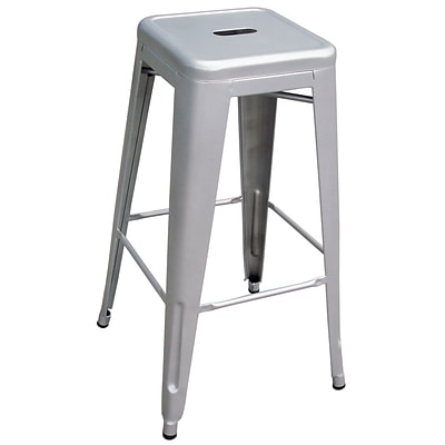 Buffalo Tools AmeriHome 30 Modern Floor Glides Bar Stool, Silver (BS030SET)