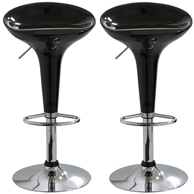 Buffalo Tools AmeriHome 33 ABS Plastic Adjustable Height 2 Piece Bar Stool Set, Black