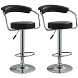 Buffalo Tools AmeriHome 42 1/4 Vinyl Adjustable Height 2 Piece Bar Stool Set, Black