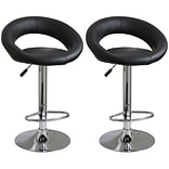 Buffalo Tools AmeriHome 40 Adjustable Height 2-Piece Vinyl Bar Stool Set, Black