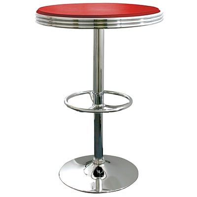 Buffalo Tools AmeriHome Vinyl Soda Fountain Style Adjustable Height Bar Table, Red