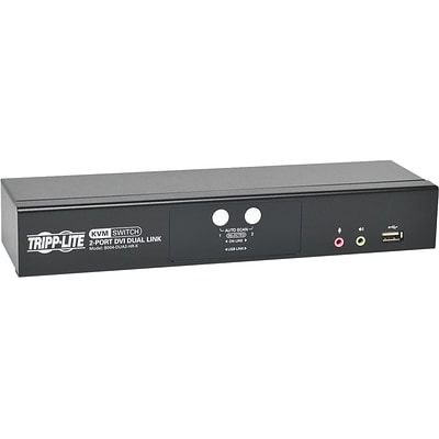 Tripp Lite B004-DUA2-HR-K DVI Dual-Link/USB KVM Switch With Audio and Cables; 2 Ports