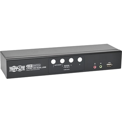 Tripp Lite B004-DUA4-HR-K DVI Dual-Link/USB KVM Switch With Audio and Cables; 4 Ports
