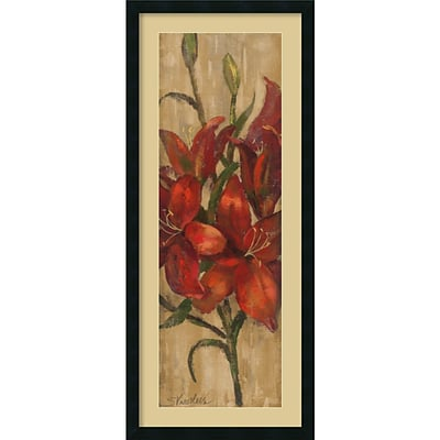 Amanti Art Vivid Red Lily on Gold Framed Art Print by Silvia Vassileva, 42H x 18W