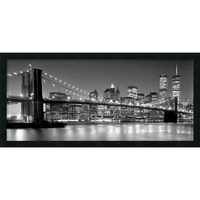 Amanti Art Brooklyn Bridge Framed Art Print by Henri Silberman, 18H x 38W