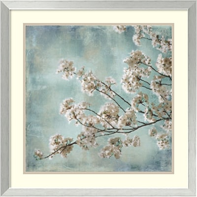 Amanti Art Aqua Blossoms I Framed Art Print by John Seba, 25.88H x 25.88W