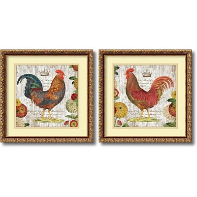 Amanti Art Rooster, gold frame - Set of 2 Framed Art Print by Suzanne Nicoll, 17.88H x 17.88W