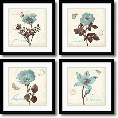 Amanti Art Touch of Blue, black frame - Set of 4 Framed Print by Katie Pertiet, 17.13H x 17.13W