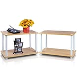 Furinno® Beech & WHT WD 2Tier End Tbls Set