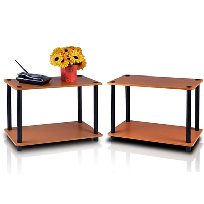 Furinno® Wood 2-Tier End Tables Set; Light Cherry & Black
