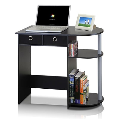 Furinno® Notebook Computer; Rubber Trees, PVC Tubes & Non-Woven Desk Black & Gray
