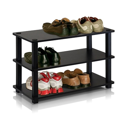 Furinno® 15.4 x 23.6 Rubber Trees & Polyvinyl Chloride Shoe Rack; Espresso & Black