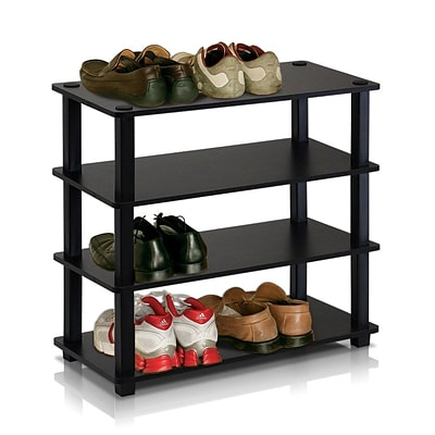 Furinno® 22.2 x 23.6 Rubber trees and PVC Tubes Shoe Rack; Espresso & Black