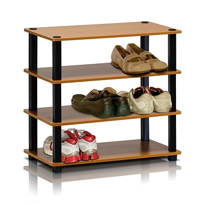 Furinno® 22.2 x 23.6 Rubber trees and PVC Tubes Shoe Rack; Light Cherry & Black