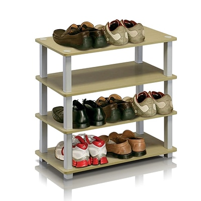 Furinno® 22.2 x 23.6 Rubber trees and PVC Tubes Shoe Rack; Steam Beech & White