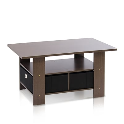 Furinno® 15.6 x 31.5 Wood Coffee Table with Bins