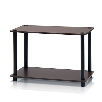 Furinno® Rubber Trees & Polyvinyl Chloride Tubes 2-Tier End Tables Set; Dark Brown & Black