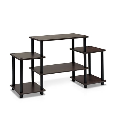 Furinno® 22.8 x 41.5 Rubber Trees & Polyvinyl Chloride TV Stand; Dark Brown & Black