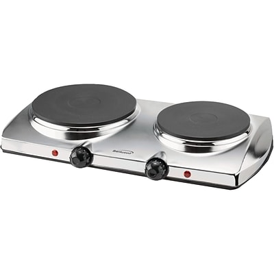 Brentwood® 1440 W Electric Double Hot Plate; Chrome Finish