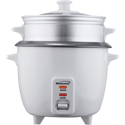 Brentwood® 5 Cup Rice Cooker With Steamer; White
