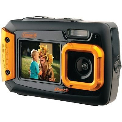 Coleman® Duo2 2V9WP Dual-Screen Waterproof Digital Camera, 20 MP, Orange
